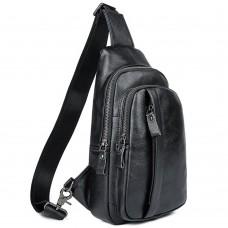 Мужской кожаный черный слинг на плечо Tiding Bag A25F-5605A - Royalbag Фото 2