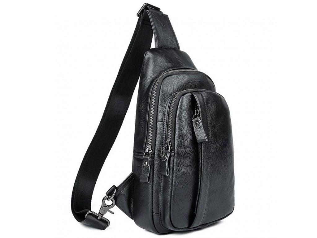 Мужской кожаный черный слинг на плечо Tiding Bag A25F-5605A - Royalbag Фото 1