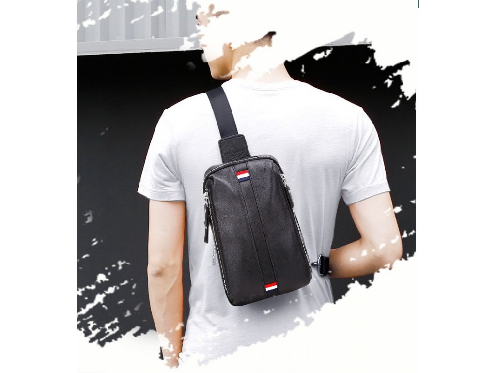 Мужской кожаный слинг на грудь Tiding Bag A25F-6616A - Royalbag