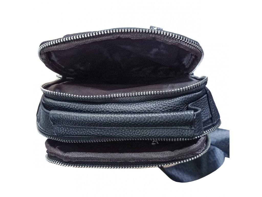 Мужской кожаный слинг на одно плечо черный Tiding Bag A25F-693A - Royalbag