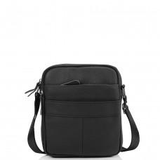 Мужская кожаная сумка через плечо маленькая черная Tiding Bag A25F-8017A - Royalbag