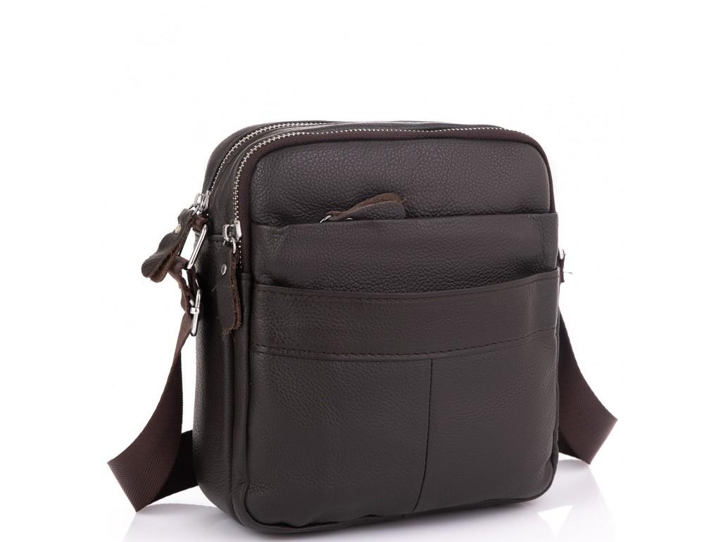 Кожаный мессенджер мужской коричневый Tiding Bag A25F-8017B - Royalbag Фото 1