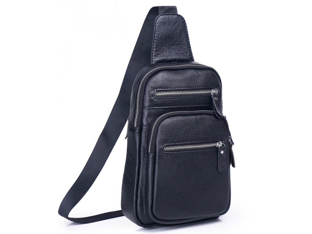 Мужской слинг на одно плечо черный Tiding Bag A25F-8791A - Royalbag Фото 1