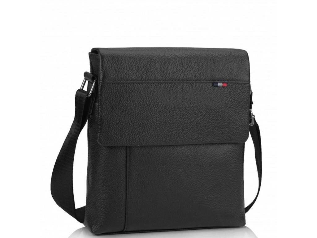Мужская кожаная сумка через плечо черная Tiding Bag A25F-98075A - Royalbag Фото 1