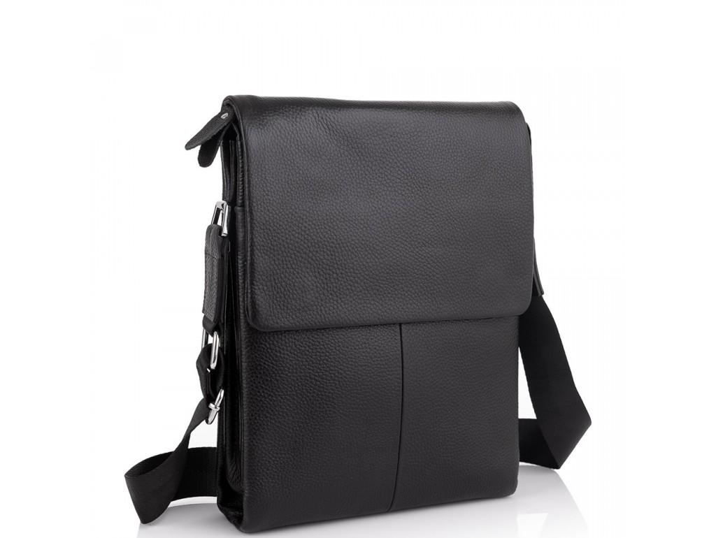 Кожаная черная сумка мужская через плечо Tiding Bag A25F-9906A - Royalbag Фото 1