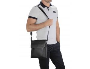 Мужская кожаная сумка через плечо черная Tiding Bag A25F-9913A - Royalbag