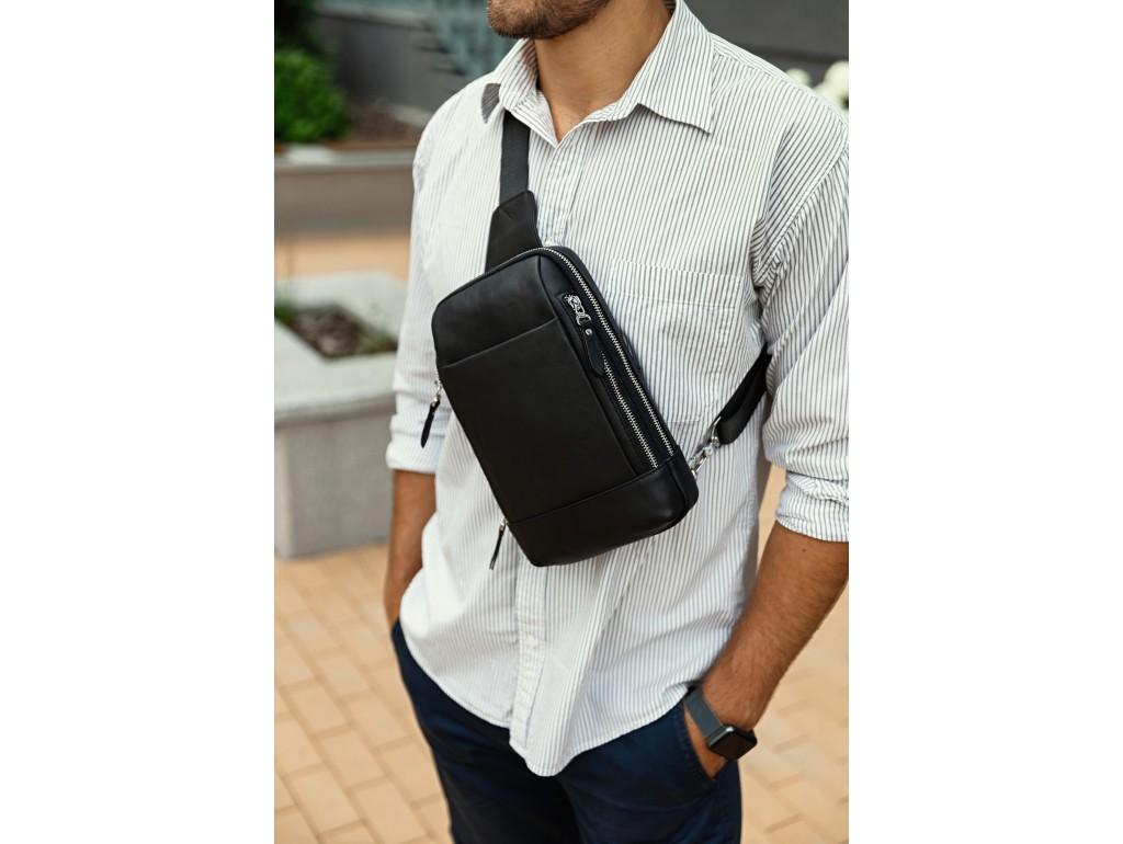 Мужской кожаный рюкзак на одну шлейку черный Tiding Bag B3-087A - Royalbag