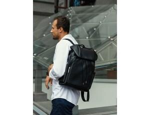 Рюкзак мужской кожаный черный Tiding Bag B3-174A - Royalbag