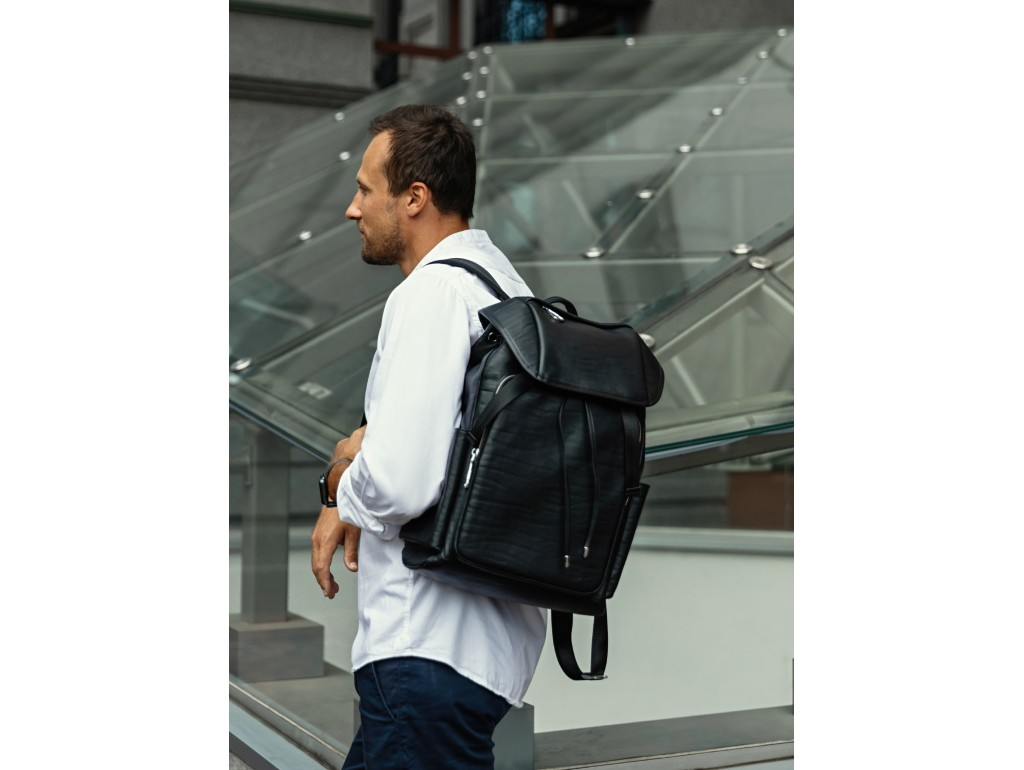 Рюкзак чоловічий шкіряний чорний Tiding Bag B3-174A - Royalbag