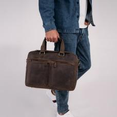 Винтажная сумка для ноутбука коричневая Tiding Bag D4-001G - Royalbag