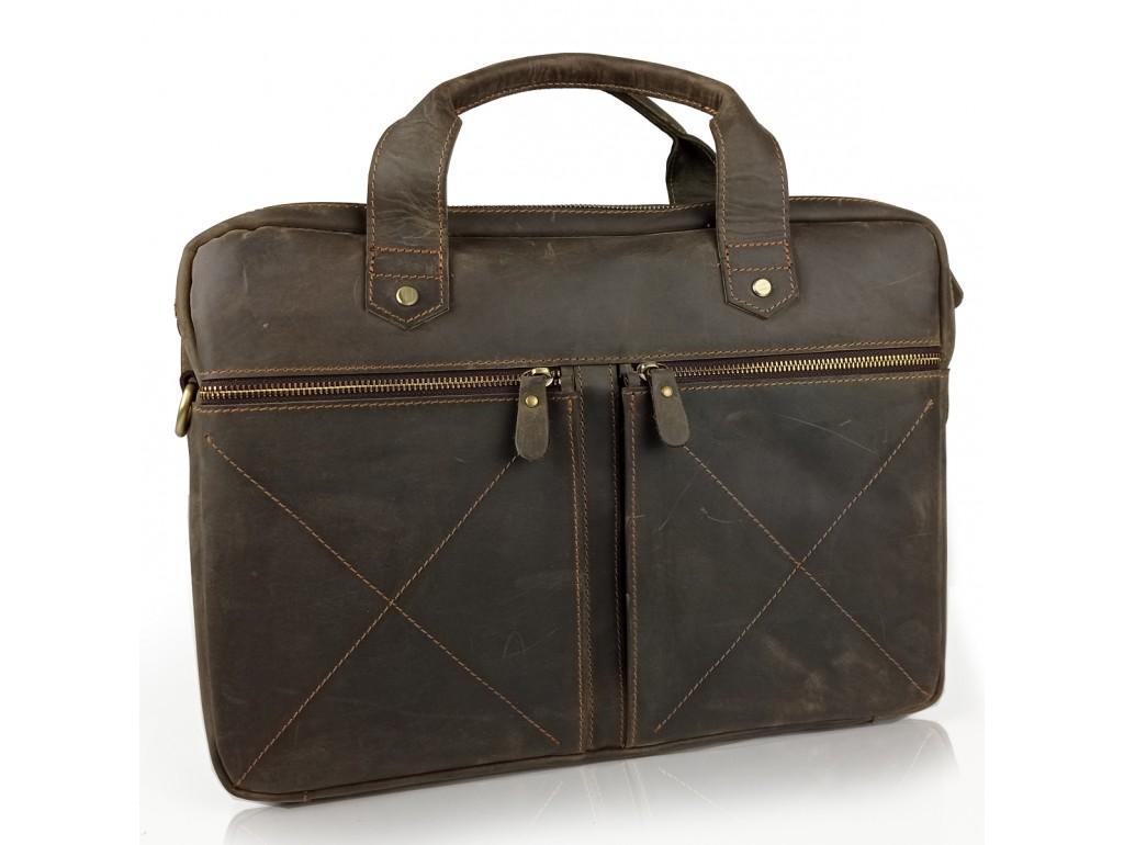 Винтажная сумка для ноутбука коричневая Tiding Bag D4-012R - Royalbag Фото 1