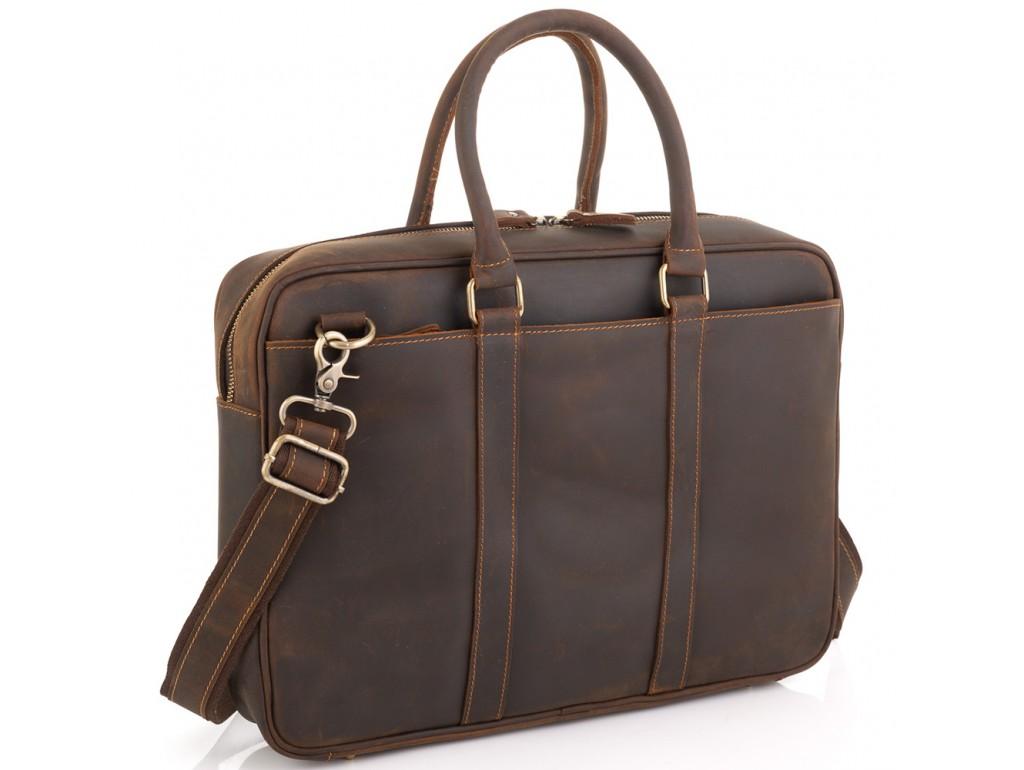 Винтажная коричневая сумка для ноутбука Tiding Bag D4-023R - Royalbag Фото 1