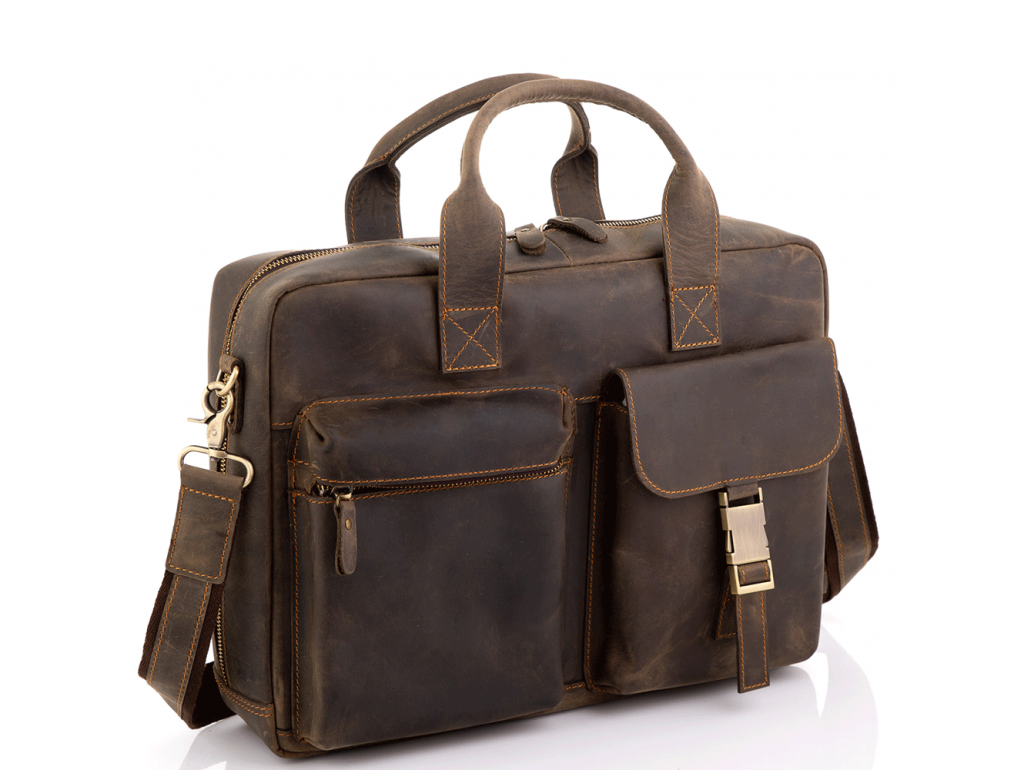 Винтажная кожаная сумка для ноутбука Tiding Bag D4-058R - Royalbag Фото 1