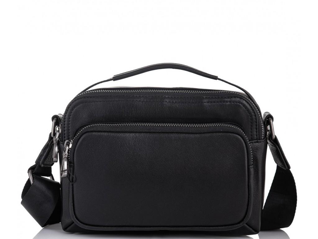 Мужская кожаная сумка через плечо черная Tiding Bag M1043A - Royalbag
