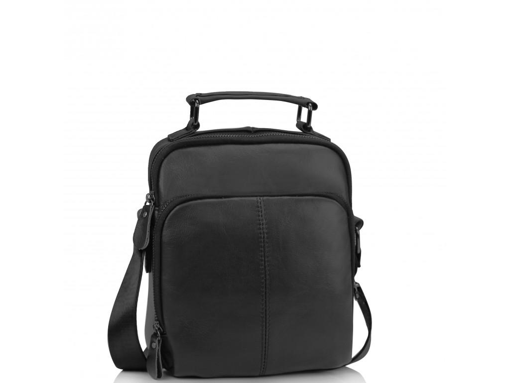 Мужская кожаная сумка на плечо черная Tiding Bag M35-0118A - Royalbag
