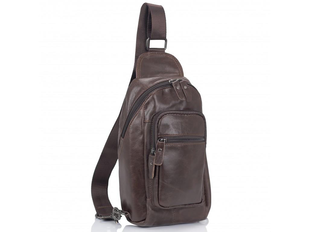 Мужская сумка-слинг коричневого цвета Tiding Bag M35-1008C - Royalbag Фото 1