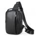 Мужская кожаная сумка-слинг черная Tiding Bag M35-1306A - Royalbag Фото 3