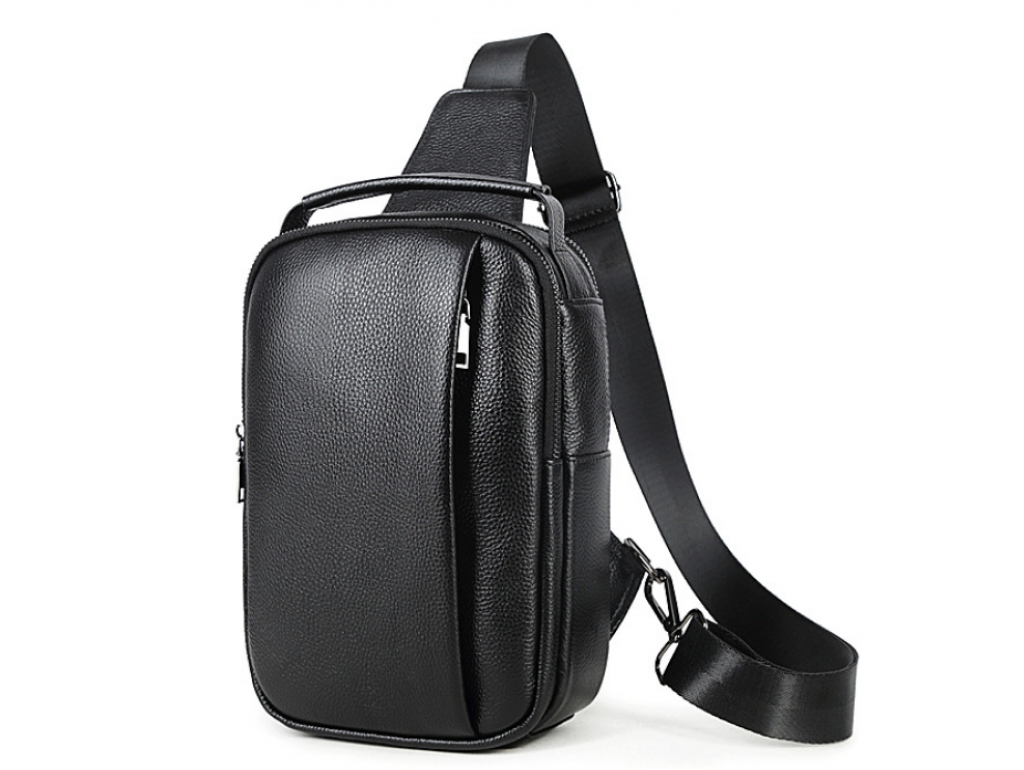 Мужская кожаная сумка-слинг черная Tiding Bag M35-1306A - Royalbag