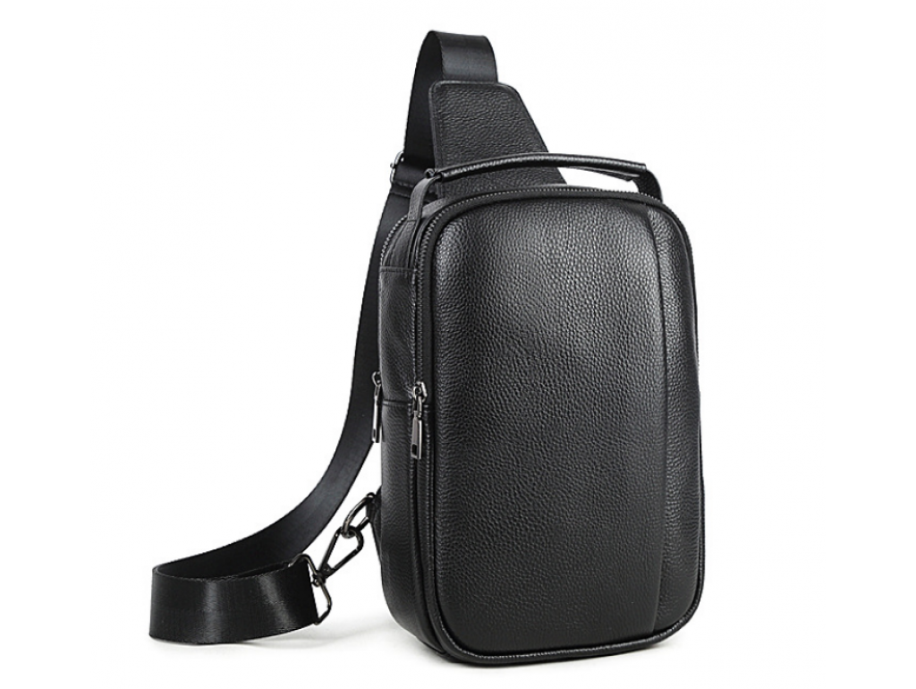 Мужская кожаная сумка-слинг черная Tiding Bag M35-1306A - Royalbag Фото 1