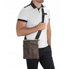 Мужская кожаная сумка через плечо коричневая Tiding Bag M35-703B - Royalbag