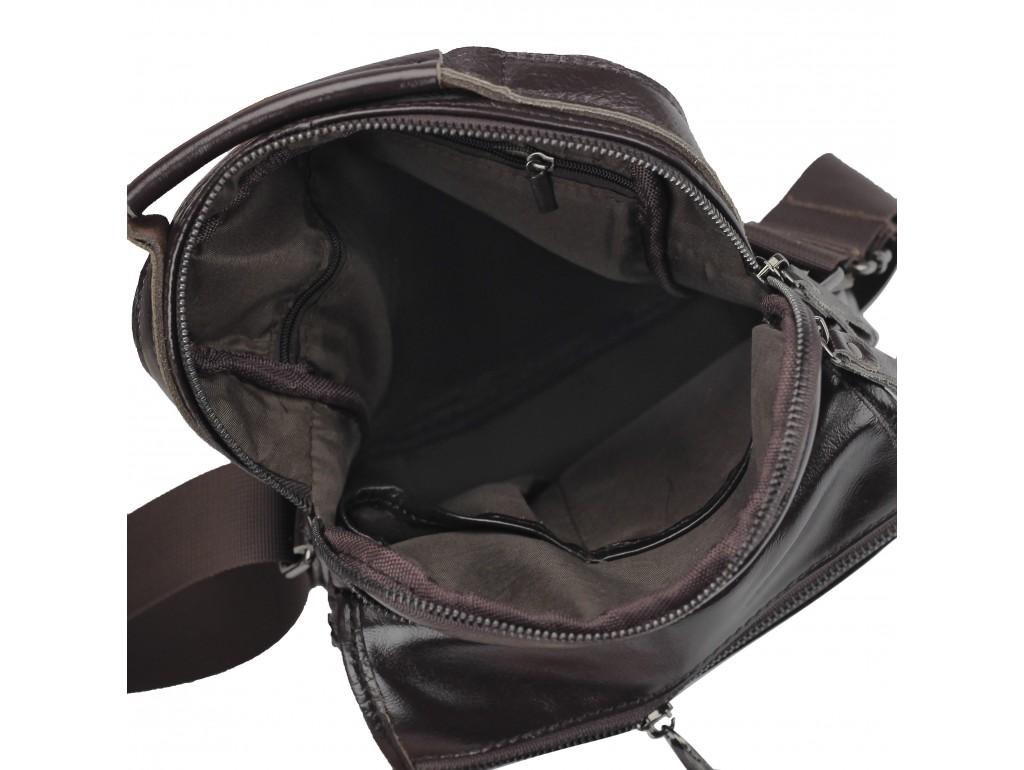 Мужская кожаная сумка-барсетка на плечо коричневая Tiding Bag M35-8852B - Royalbag