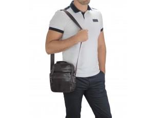 Мужская кожаная сумка-барсетка на плечо коричневая Tiding Bag M35-8852В - Royalbag