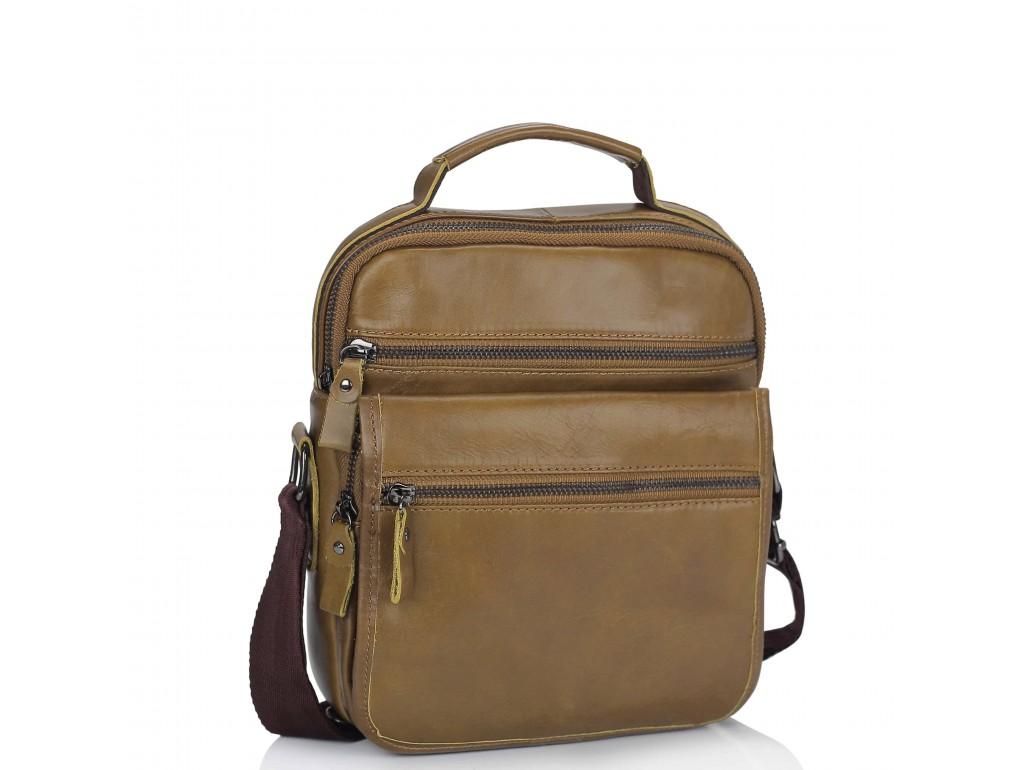 Мужская кожаная сумка через плечо коричневая Tiding Bag M35-8852LB - Royalbag Фото 1