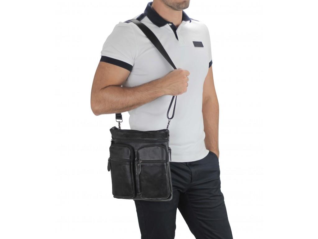 Мессенджер через плечо мужской кожаный черный Tiding Bag M35-9012A - Royalbag