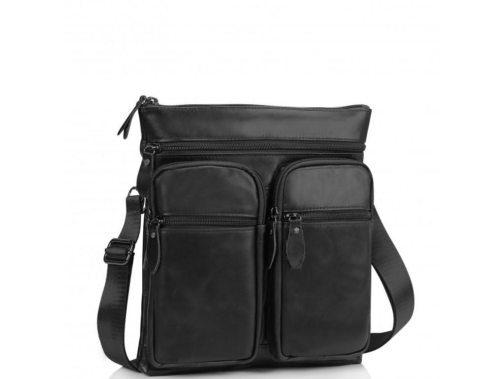 Мессенджер через плечо мужской кожаный черный Tiding Bag M35-9012A - Royalbag Фото 1