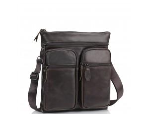 Мессенджер через плечо мужской кожаный коричневый Tiding Bag M35-9012B - Royalbag