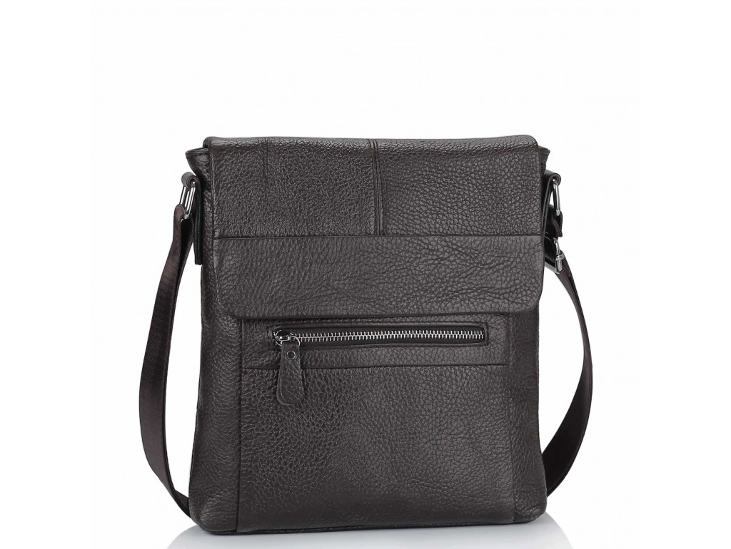 Кожаная мужская сумка через плечо коричневая Tiding Bag M38-9117-2B - Royalbag Фото 1