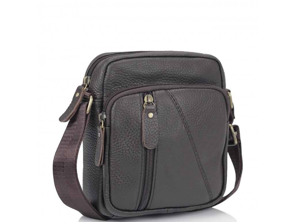 Мужская кожаная сумка коричневая через плечо Tiding Bag N2-1008DB - Royalbag Фото 1