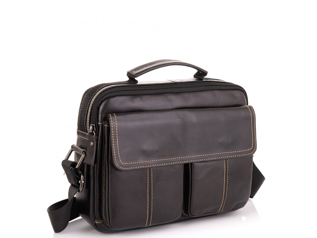 Горизонтальный кожаный мессенджер Tiding Bag N2-403DB - Royalbag Фото 1