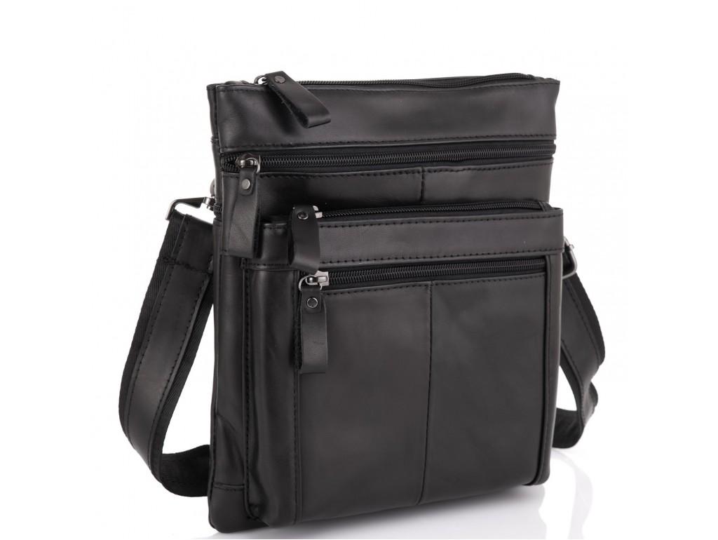 Черная мужская кожаная сумка через плечо Tiding Bag N2-8011A - Royalbag Фото 1