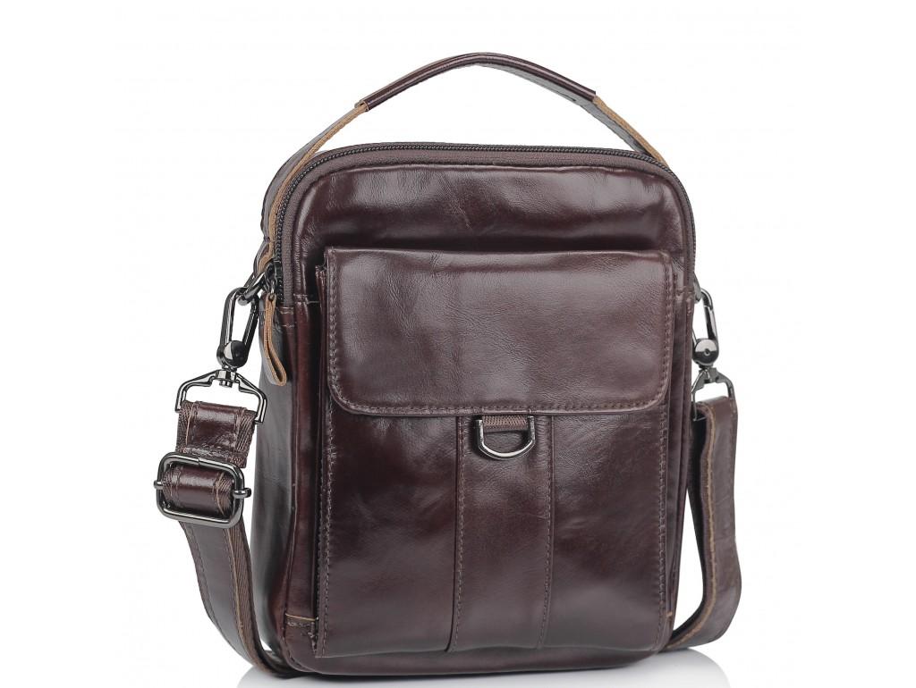 Коричневая сумка мессенджер через плечо Tiding Bag N2-8013DB - Royalbag Фото 1