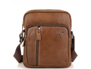 Чоловіча сумка через плече з натуральної шкіри світло коричнева Tiding Bag N2-9003B - Royalbag