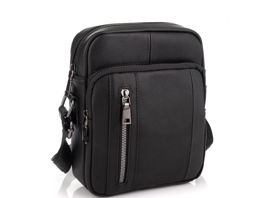 Мужская сумка через плечо черная из натуральной кожи Tiding Bag N2-9801-1A - Royalbag Фото 1