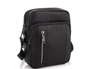 Мужская сумка через плечо черная из натуральной кожи Tiding Bag N2-9801-1A - Royalbag