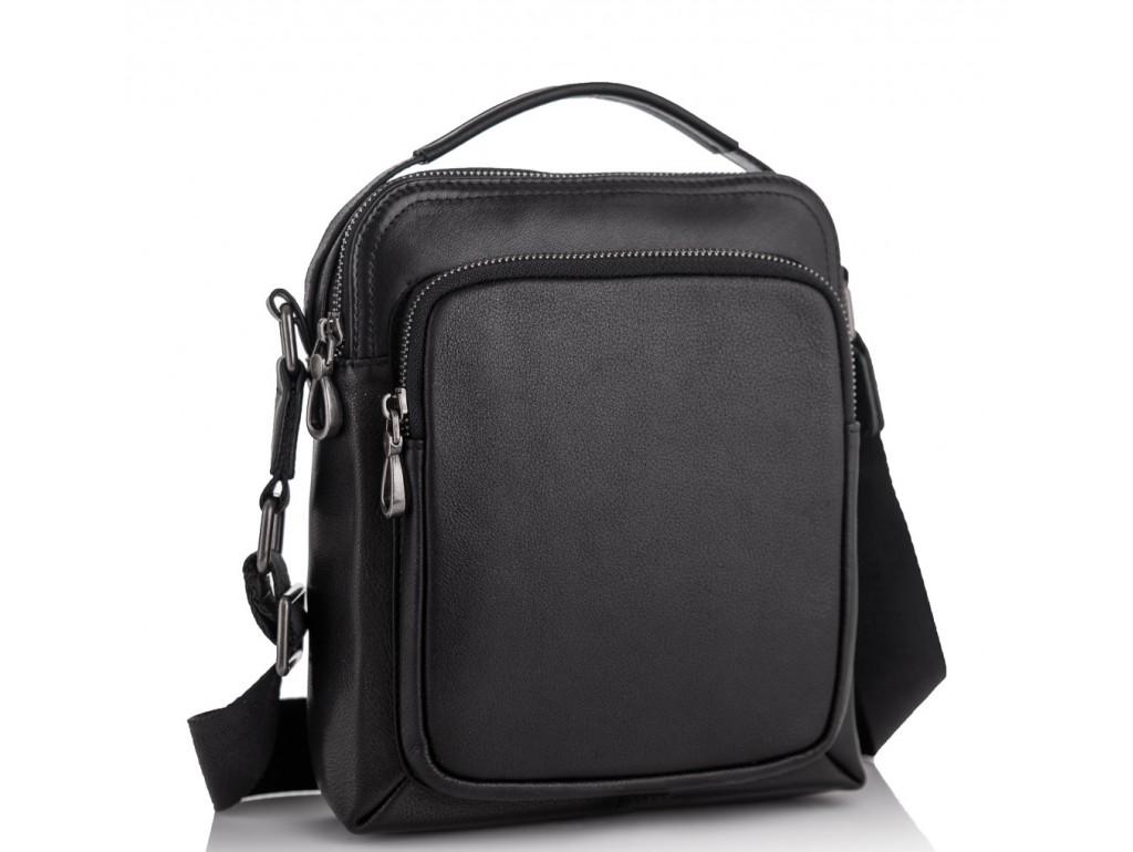 Мужская кожаная сумка-барсетка через плечо черная Tiding Bag NA50-1042A - Royalbag Фото 1