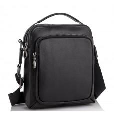 Мужская кожаная сумка-барсетка через плечо черная Tiding Bag NA50-1042A - Royalbag Фото 2