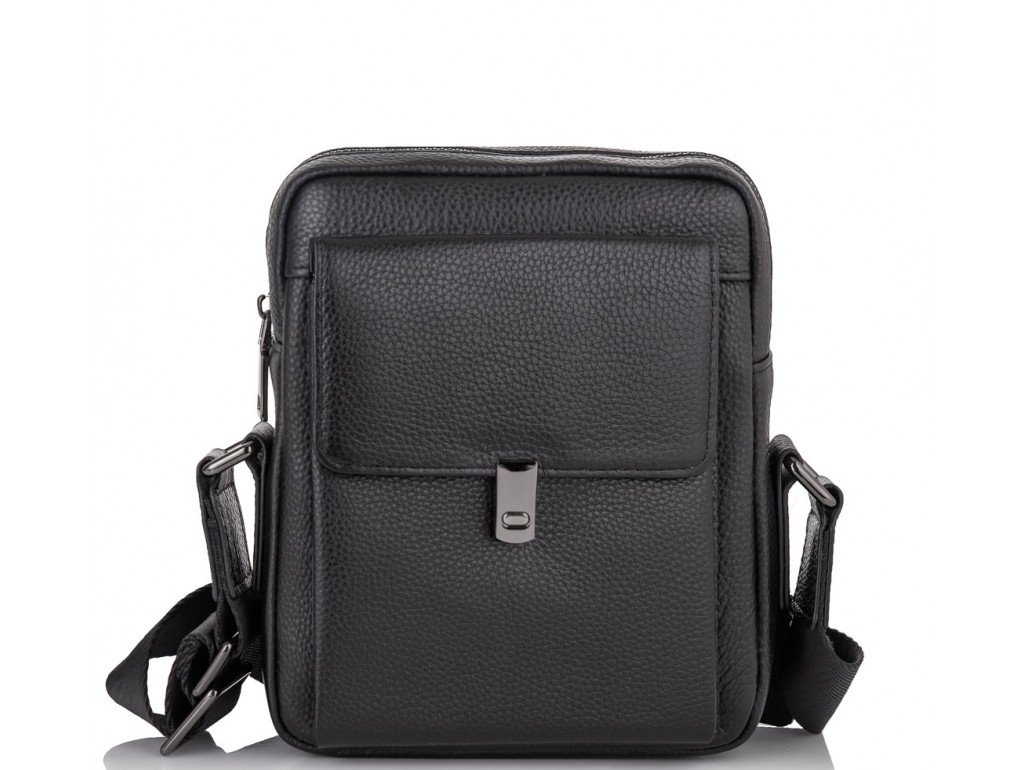 Мужской кожаный черный мессенджер-барсетка Tiding Bag NM11-2030A - Royalbag