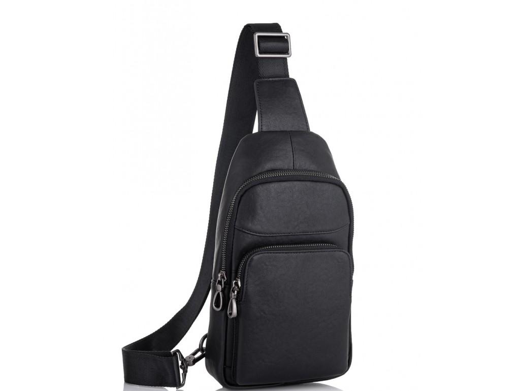 Мужской черный кожаный слинг Tiding Bag NM11-7526A - Royalbag Фото 1