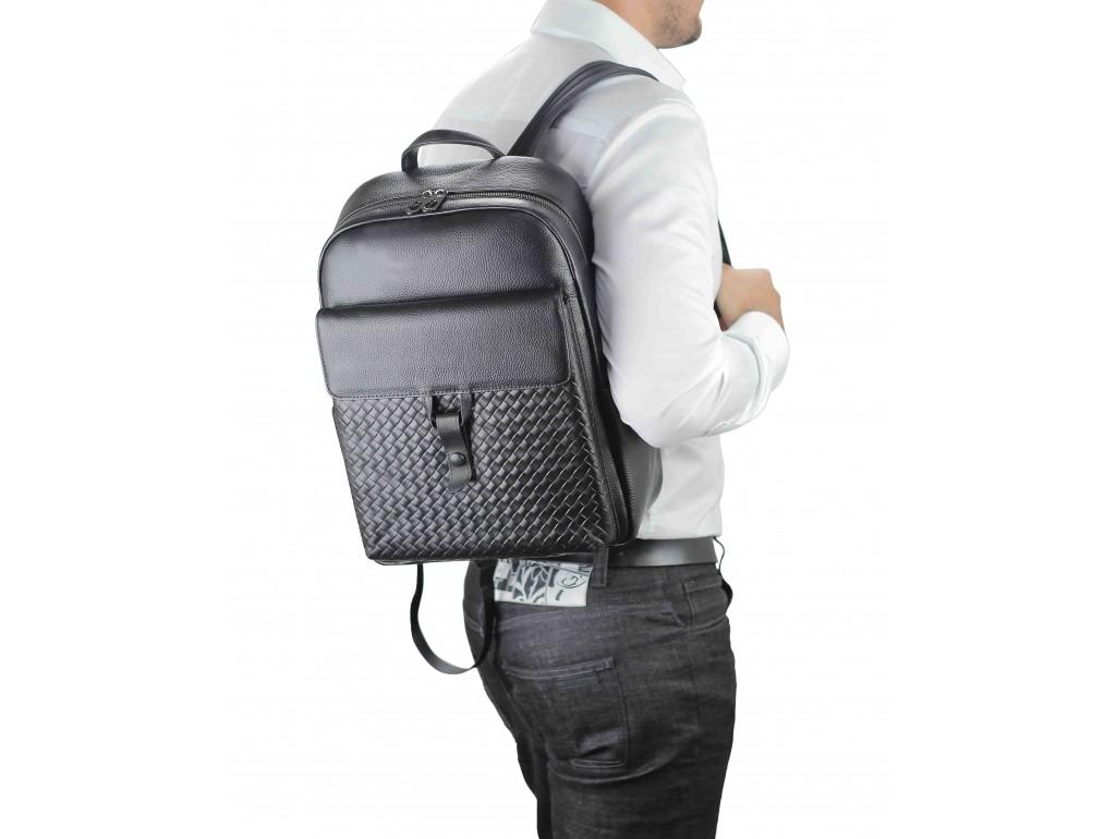 Мужской кожаный рюкзак черный с плетением Tiding Bag NM11-8838A - Royalbag