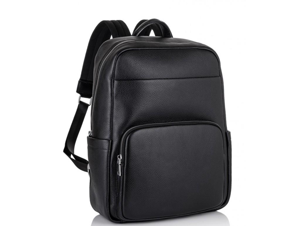 Мужской кожаный рюкзак для ноутбука черный Tiding Bag NM18-003A - Royalbag Фото 1