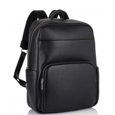Мужской кожаный рюкзак для ноутбука черный Tiding Bag NM18-003A - Royalbag Фото 2