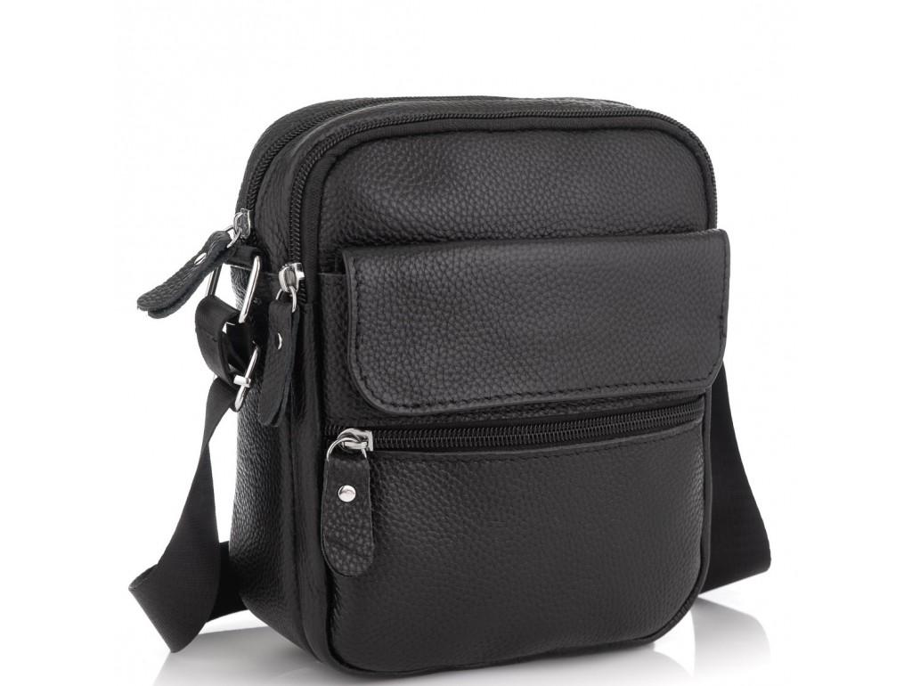Мужская кожаная сумка черная через плечо Tiding Bag NM20-1812A - Royalbag Фото 1