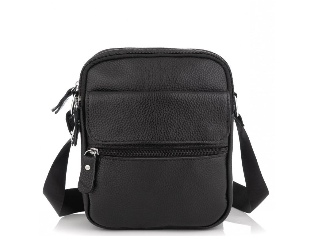 Мужская кожаная сумка черная через плечо Tiding Bag NM20-1812A - Royalbag