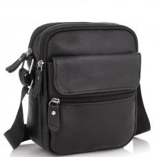 Мужская кожаная сумка черная через плечо Tiding Bag NM20-1812A - Royalbag Фото 2