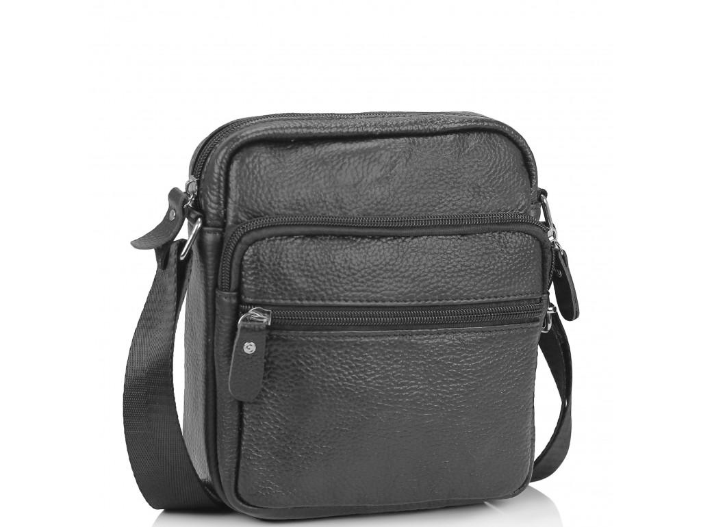 Небольшая кожаная сумка через плечо черная Tiding Bag NM20-2610A - Royalbag Фото 1