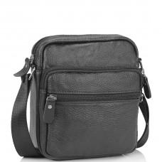 Небольшая кожаная сумка через плечо черная Tiding Bag NM20-2610A - Royalbag Фото 2